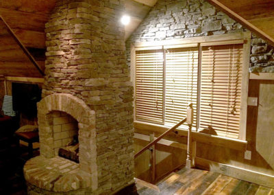 Reclaimed Brick and Stone Fireplace